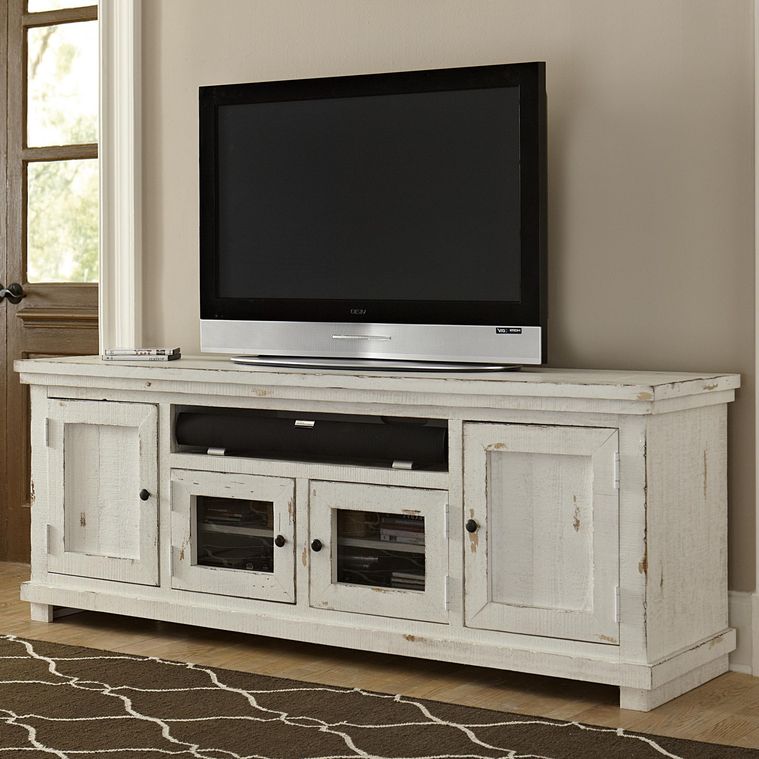 """Progressive Furniture Willow Large 74"""" Distressed Pine For Recent Rustic Grey Tv Stand Media Console Stands For Living Room Bedroom (View 8 of 10)"""