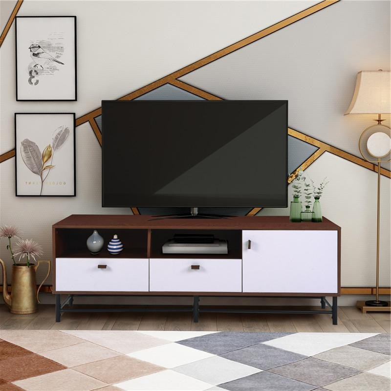 Recent 2020 Tv Media Stand Metal Legs Leather Buckles For Tvs Up Throughout Industrial Tv Stands With Metal Legs Rustic Brown (View 9 of 10)