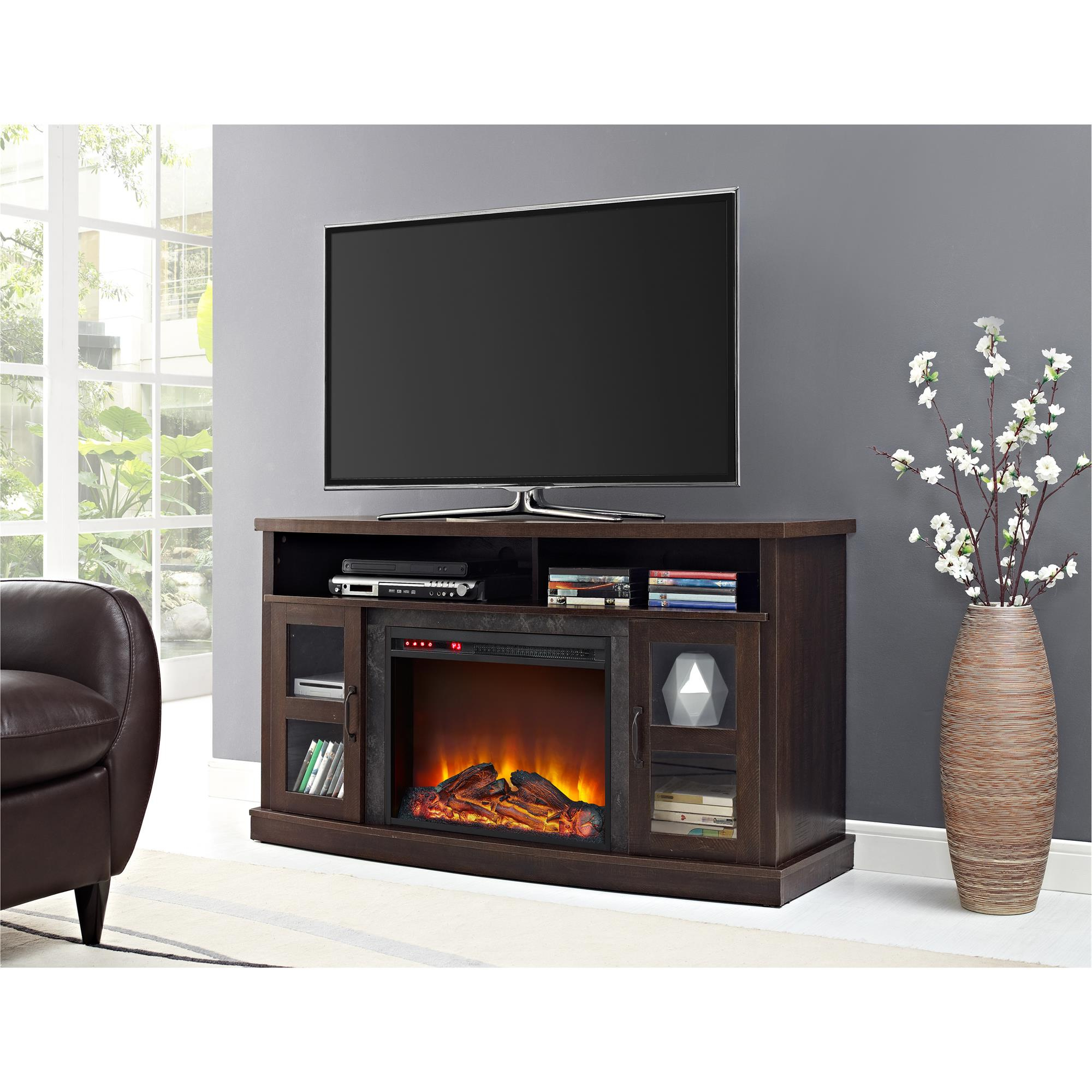 """Recent Ameriwood Home Barrow Creek Fireplace Console With Glass Throughout Margulies Tv Stands For Tvs Up To 60"""" (View 3 of 25)"""