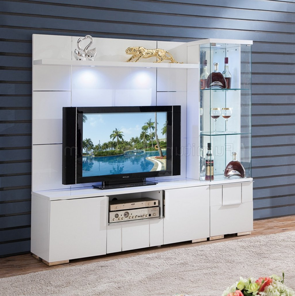 Recent Av291 55 Tv Stand In White High Glosspantek W/options Intended For Tv Stands With 2 Open Shelves 2 Drawers High Gloss Tv Unis (View 4 of 10)