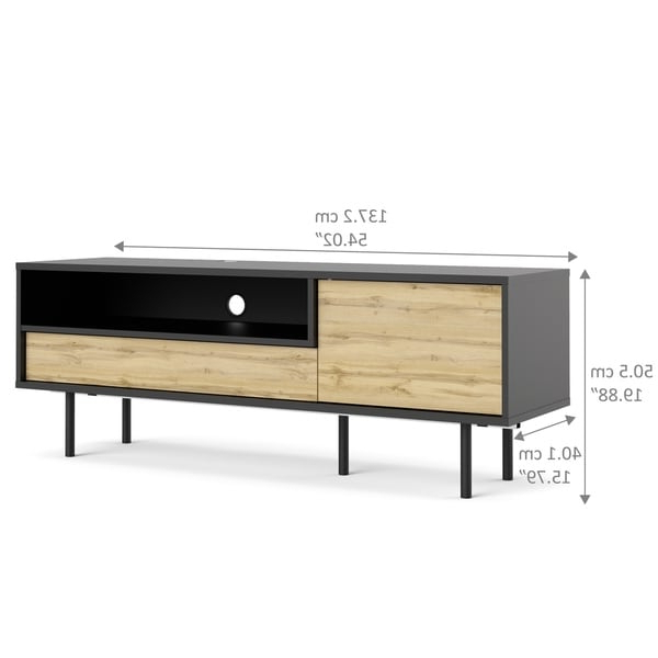 Recent Compton Ivory Extra Wide Tv Stands For Match Black Matte And Wotan Light Oak 1 Drawer Tv Stand (View 11 of 25)