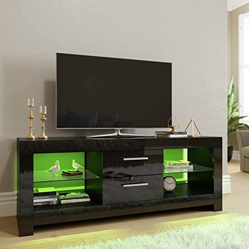 Recent Elegant 1200mm Modern High Gloss White Tv Stand Cabinet With Ktaxon Modern High Gloss Tv Stands With Led Drawer And Shelves (View 8 of 10)