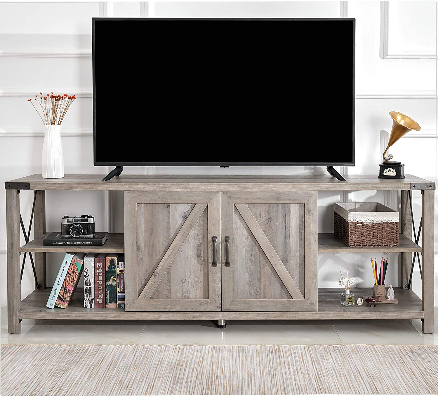 """Recent Industrial Tv Stands With Metal Legs Rustic Brown With Amerlife 68"""" Tv Stand Wood Metal Tv Console Industrial (View 4 of 10)"""