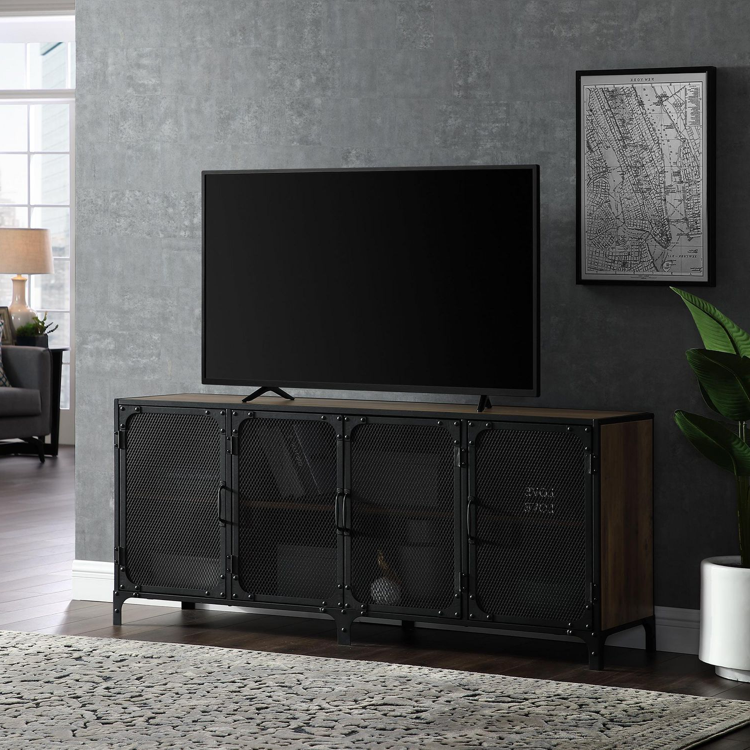 Recent Manor Park Industrial Mesh Tv Stand For Tv's Up To 66 Intended For Urban Rustic Tv Stands (View 2 of 10)
