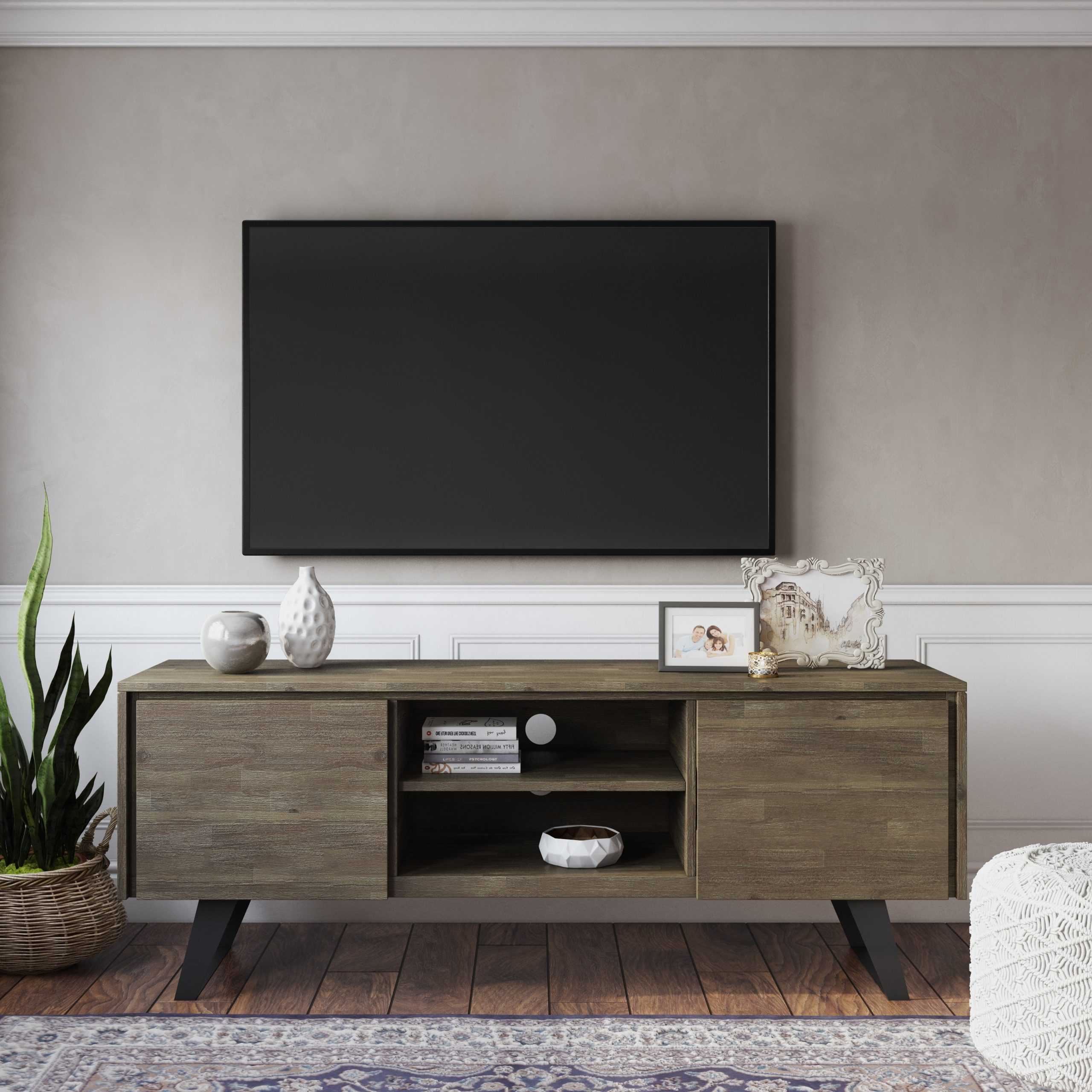 """Recent Miconia Solid Wood Tv Stands For Tvs Up To 70"""" Within Wyndenhall Mitchell Solid Acacia Wood 63 Inch Wide Modern (View 2 of 25)"""