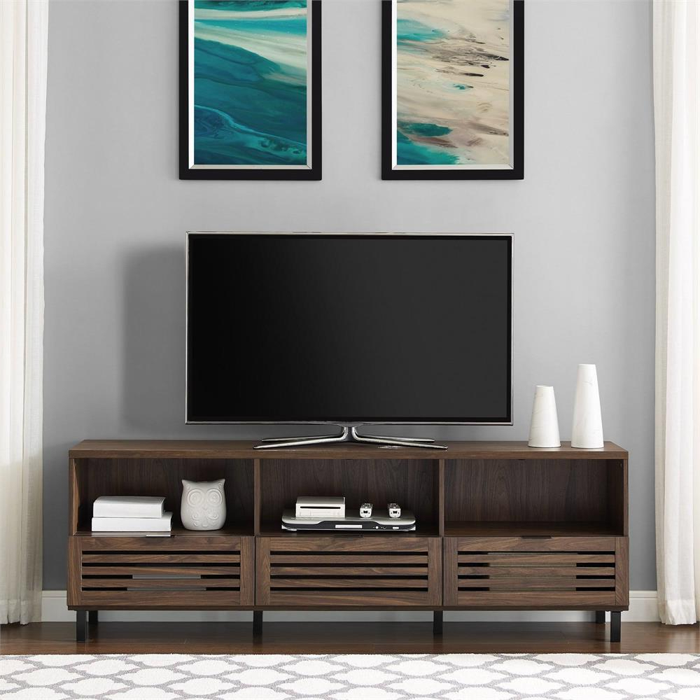 Recent Modern Black Tv Stands On Wheels In Walker Edison 70 In (View 1 of 10)