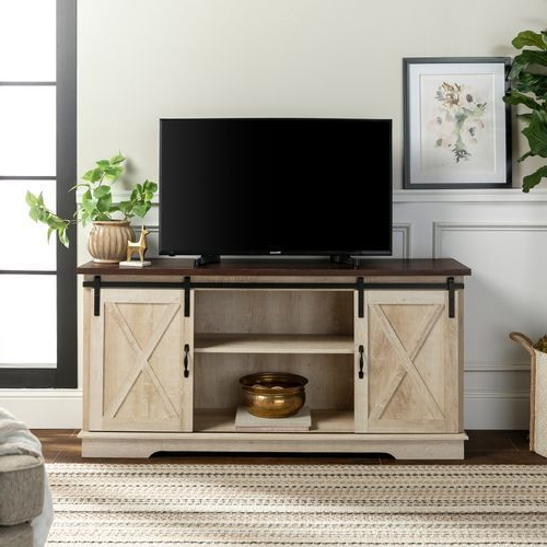 """Recent Modern Farmhouse Style 58"""" Tv Stands With Sliding Barn Door Intended For White Oak Farmhouse Sliding Barn Door Tv Stand (View 1 of 10)"""