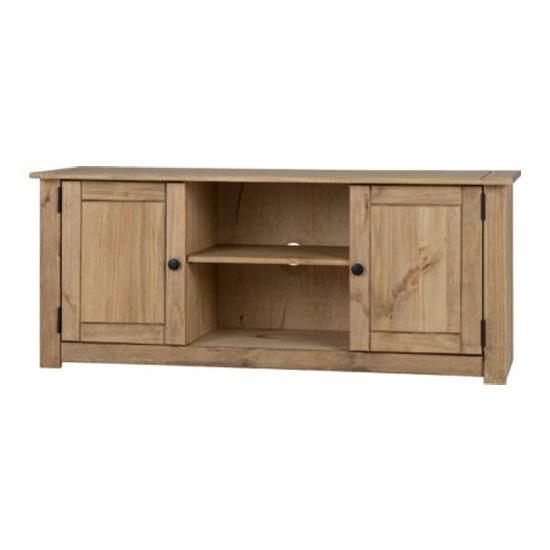 Recent Panama Tv Stands Regarding Panama Wooden 2 Doors 1 Shelf Tv Stand In Natural Wax (View 5 of 25)