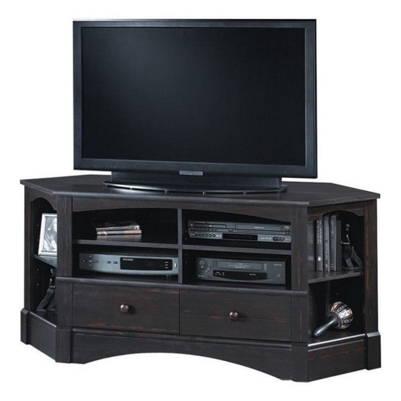 Recent Sauder Harbor View Corner Tv Stand In Antiqued Black – 402902 With Harbor Wide Tv Stands (View 13 of 25)