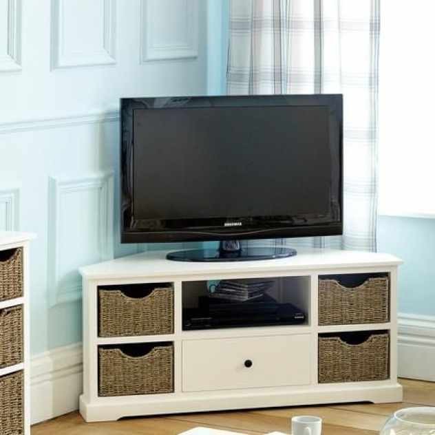 Recent Small Living Room  Could Put Baskets On Shelves To Dress Intended For Compton Ivory Corner Tv Stands (View 10 of 25)