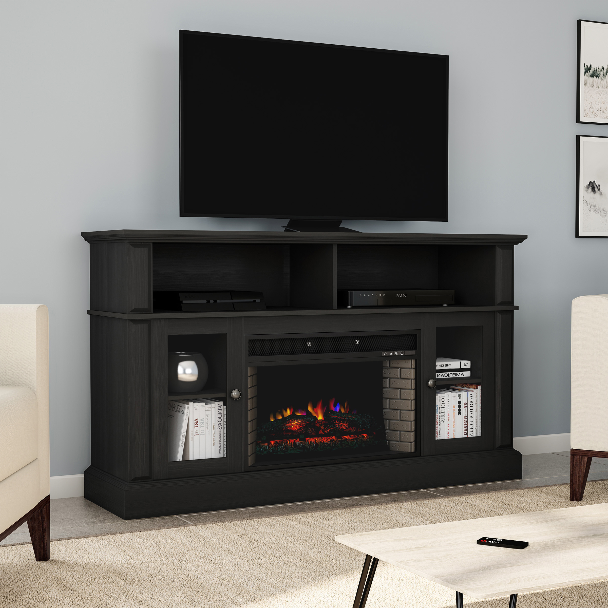 """Recent Tv Stands Cabinet Media Console Shelves 2 Drawers With Led Light Inside Electric Fireplace Tv Stand For Tvs Up To 59"""" Console With (View 10 of 10)"""