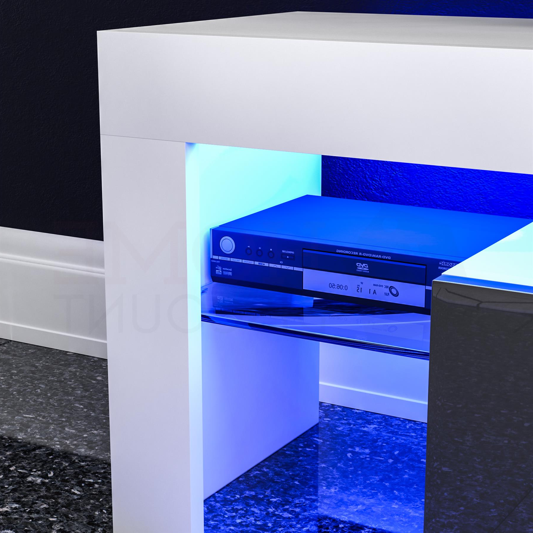 Recent Zimtown Modern Tv Stands High Gloss Media Console Cabinet With Led Shelf And Drawers With Regard To Luna Led Tv Stand Cabinet Unit 1 Drawer Modern (View 8 of 10)
