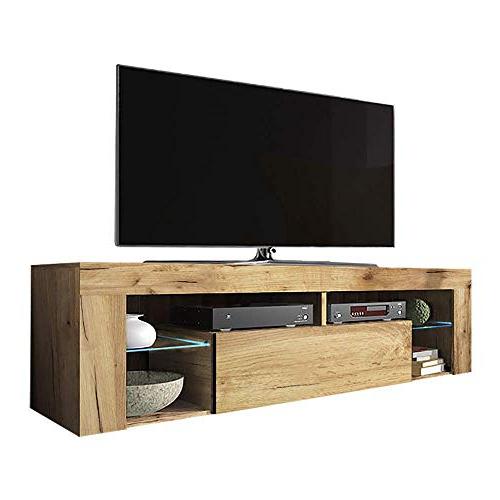 Retro Designer Media Units Oak Walnut Curved Tv Cabinets Intended For Most Recently Released Bromley Oak Corner Tv Stands (View 1 of 10)