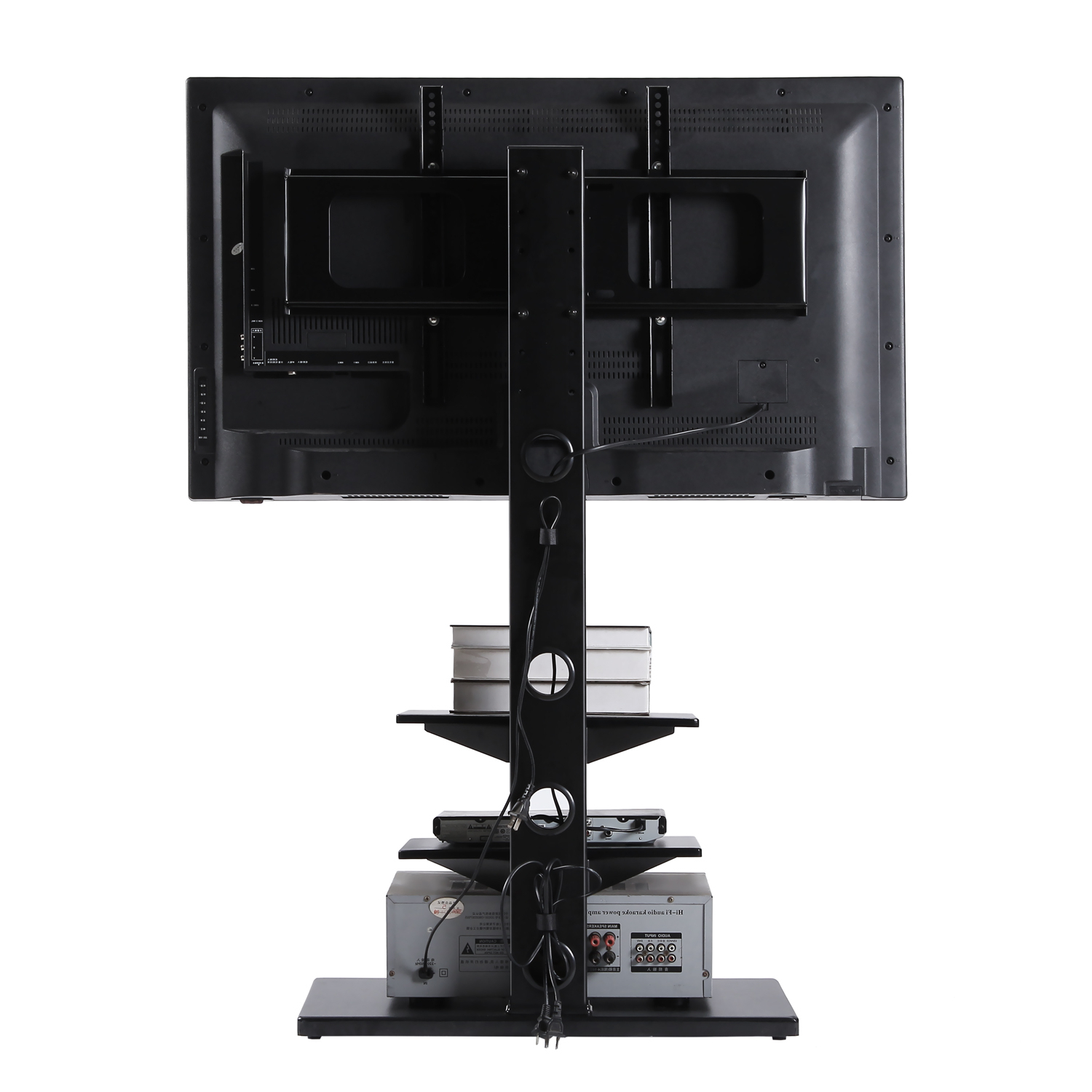 Rfiver Swivel 3 Tiers Floor Tv Stand Height Adjustable 32 Pertaining To Well Known Swivel Floor Tv Stands Height Adjustable (View 7 of 10)