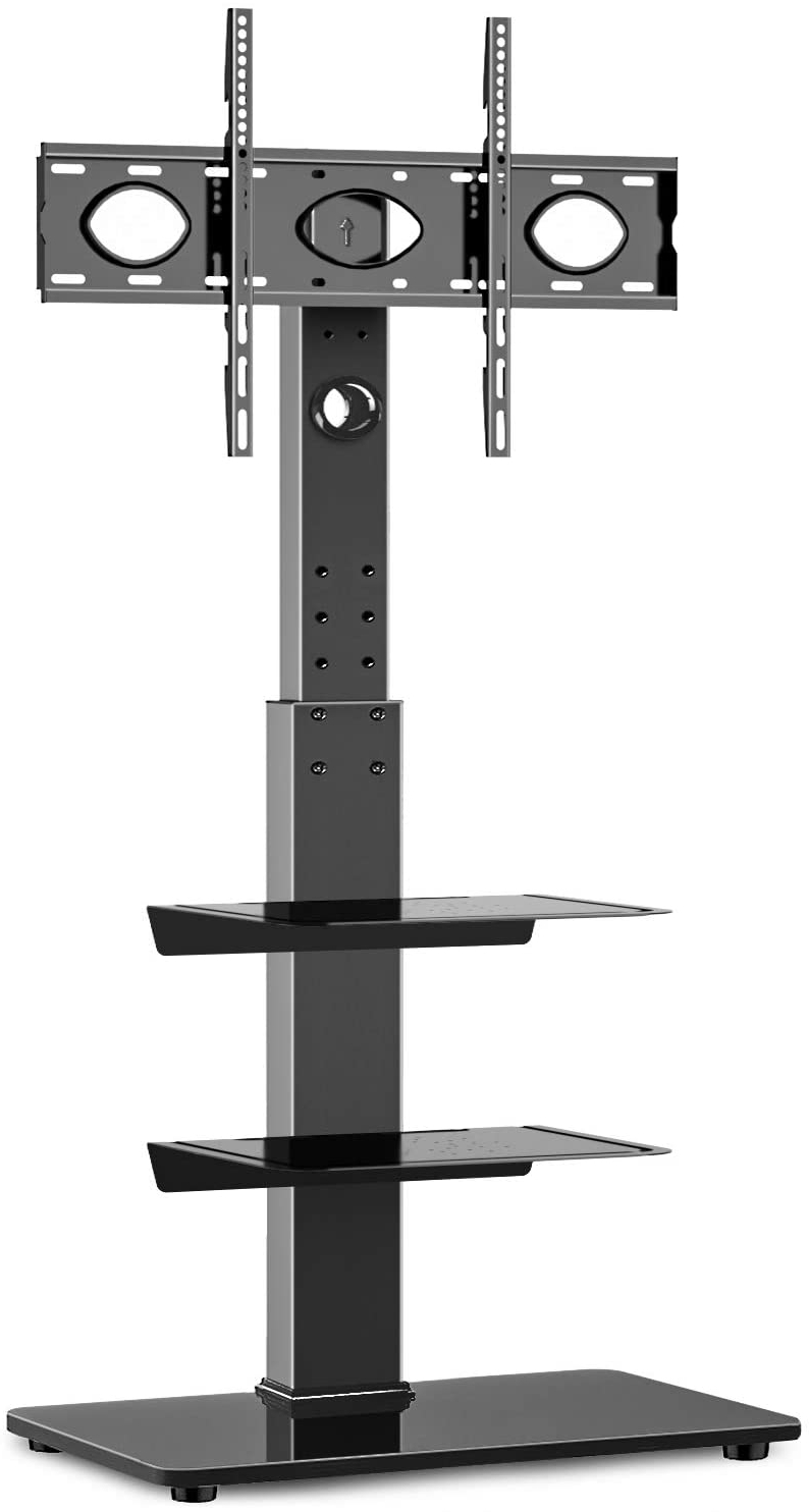 """Rfiver Universal Floor Tv Stand With Swivel Mount And Pertaining To Most Popular Whalen Furniture Black Tv Stands For 65"""" Flat Panel Tvs With Tempered Glass Shelves (View 3 of 10)"""