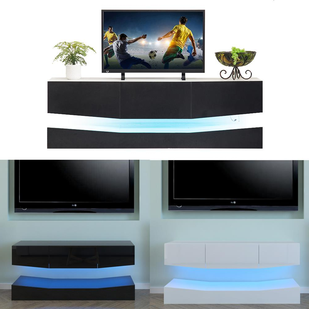 """Rgb Led Light High Gloss Floating Tv Cabinet Stand For Latest Ezlynn Floating Tv Stands For Tvs Up To 75"""" (View 5 of 25)"""