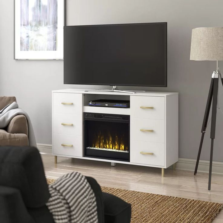 """Rickard Tv Stands For Tvs Up To 65"""" With Fireplace Included Inside Well Known Tessio Tv Stand For Tvs Up To 65"""" With Electric Fireplace (View 7 of 25)"""