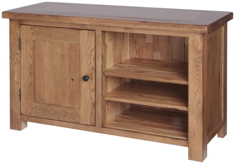 Ridgeway Oak 1 Door Tv Cabinet With 3 Adjustable Shelves Regarding Most Recently Released Compton Ivory Extra Wide Tv Stands (View 24 of 25)