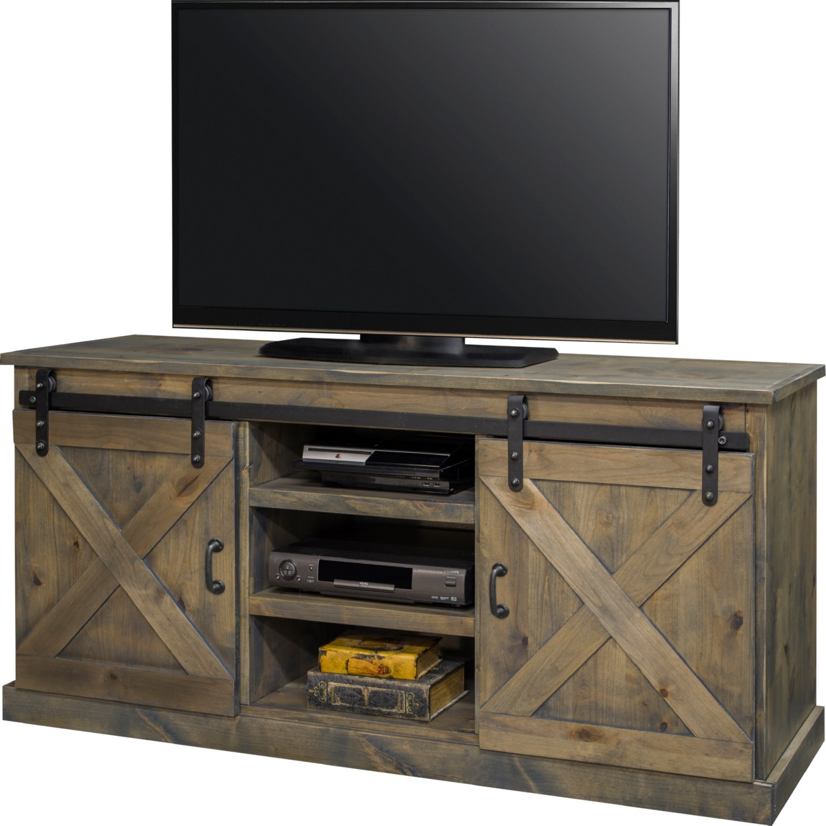 Rustic Country Tv Stands In Weathered Pine Finish Within Most Current Legends Furniture Fh (View 1 of 10)