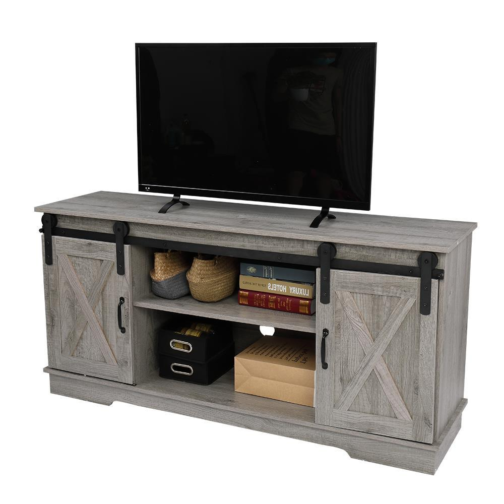 """Rustic Farmhouse Sliding Barn Door Tv Stand Console Table With Regard To Most Popular Modern Farmhouse Style 58"""" Tv Stands With Sliding Barn Door (View 3 of 10)"""