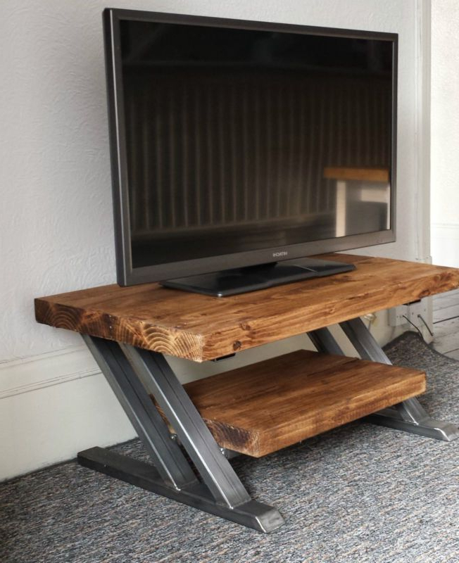 Rustic Oak Tv Stand Unit Cabinet Metal Z Frame Design With Most Up To Date Owen Retro Tv Unit Stands (View 18 of 25)