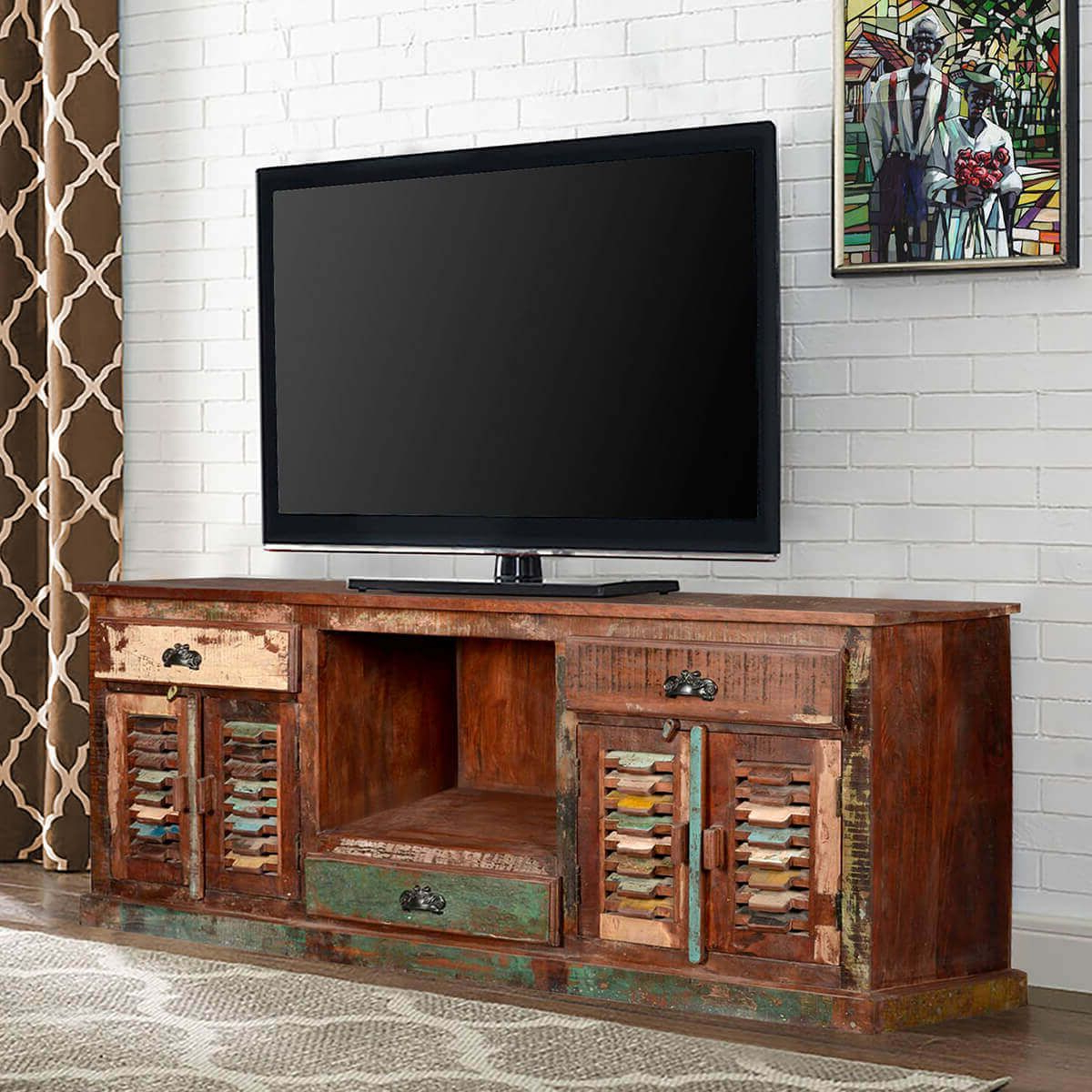 Rustic Reclaimed Wood Large Tv Stand Media Console Regarding Favorite Modern Tv Stands In Oak Wood And Black Accents With Storage Doors (View 10 of 10)