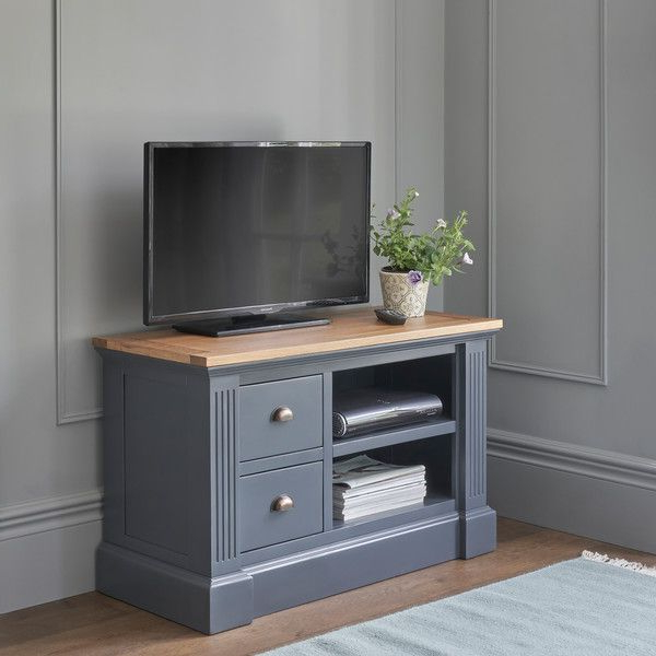 Rustic Solid Oak And Painted Tv Cabinets – Small Tv Unit In Most Popular Bromley Blue Wide Tv Stands (View 7 of 10)