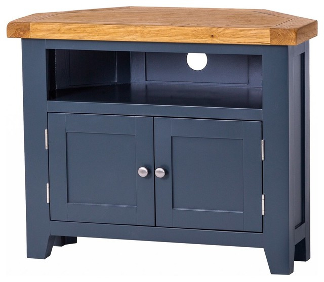 Samira Corner Tv Unit Stands Throughout Best And Newest Padstow Painted Oak Corner Tv Unit – Country – Tv Stands (View 10 of 10)