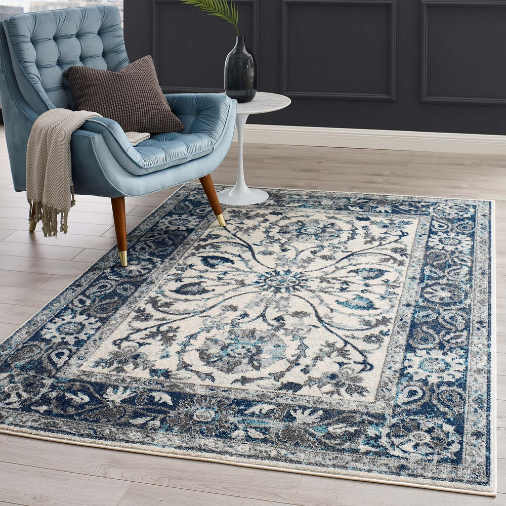Samira Tv Stands Within Famous Entourage Samira Ivory/blue Floral Persian Medium Rug (View 2 of 10)