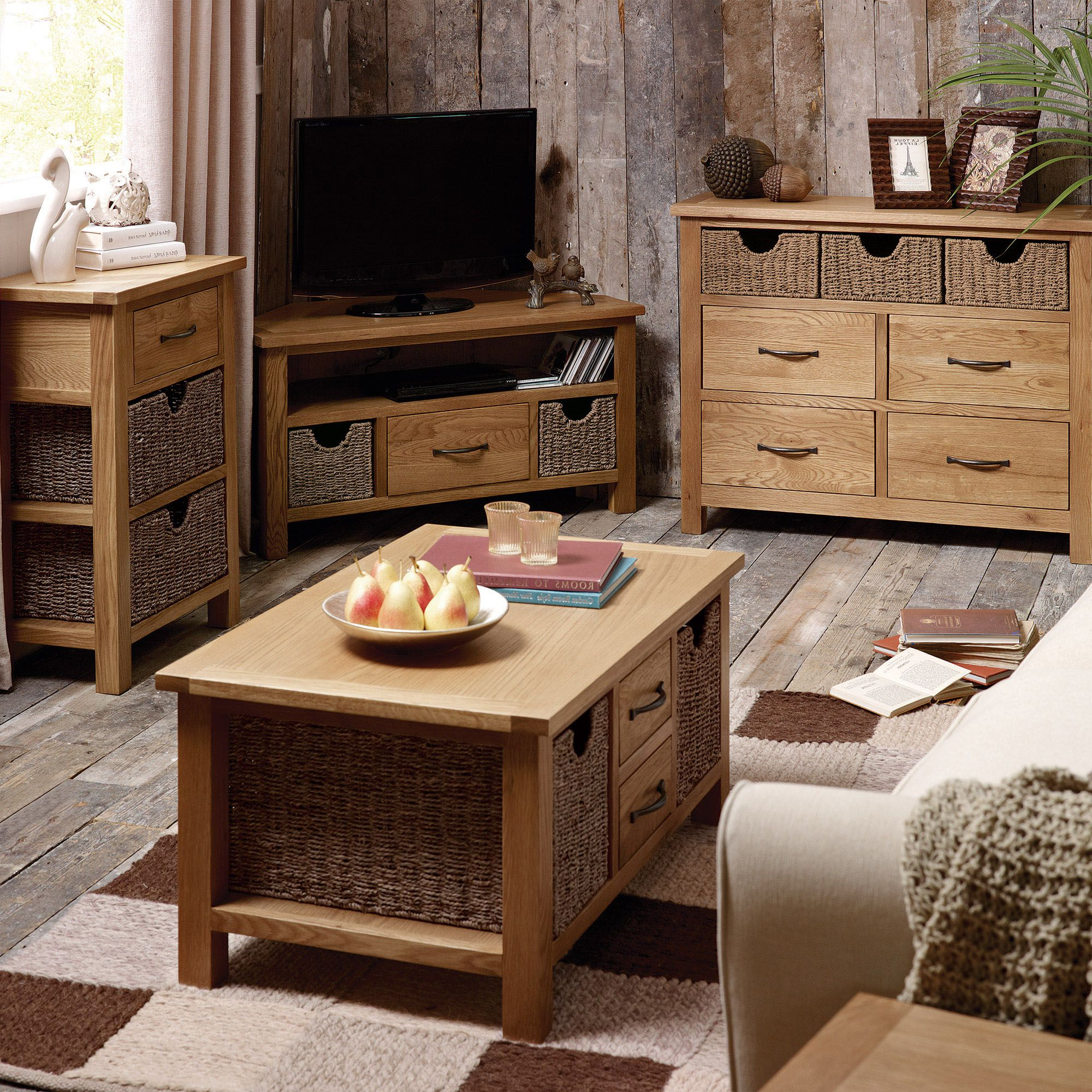 Sherbourne Oak Corner Tv Stands Regarding Favorite Sidmouth Oak Telephone Table With Baskets (View 5 of 10)