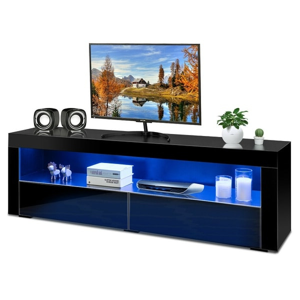 Shop Costway High Gloss Tv Stand Media Entertainment W/led With Regard To Trendy 57'' Led Tv Stands With Rgb Led Light And Glass Shelves (View 8 of 10)