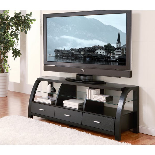 Shop Furniture Of America Grove Black 60 Inch 3 Drawer Tv Intended For Famous Tv Stands With Drawer And Cabinets (View 10 of 10)