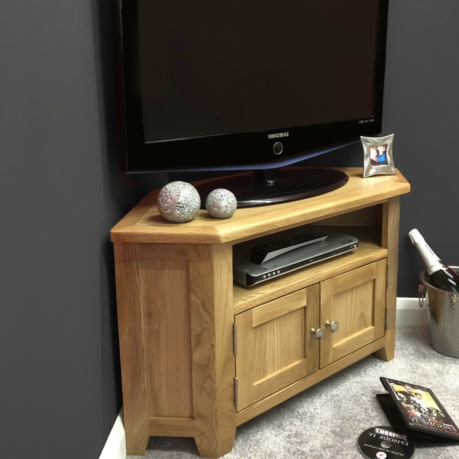 Sidmouth Oak Corner Tv Stands Within Most Popular Oak Corner Tv Stand With Doors / Solid Wood Television (View 6 of 10)
