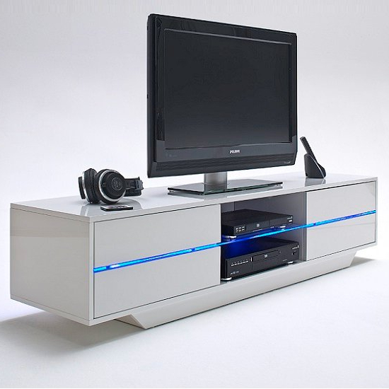 Sienna Tv Stand Unit In High Gloss With Multi Led Lights Throughout Most Current Milano White Tv Stands With Led Lights (View 20 of 25)