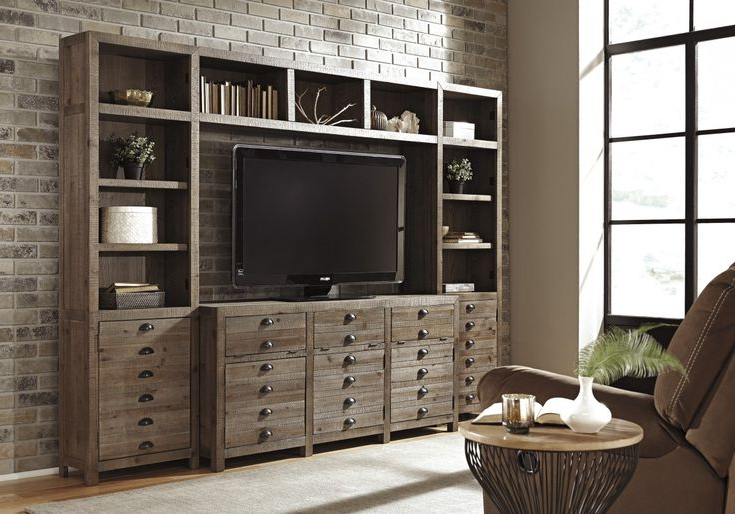 Signature Designashleykeeblenkeeblan Entertainment Throughout Most Up To Date Lucas Extra Wide Tv Unit Grey Stands (View 8 of 10)
