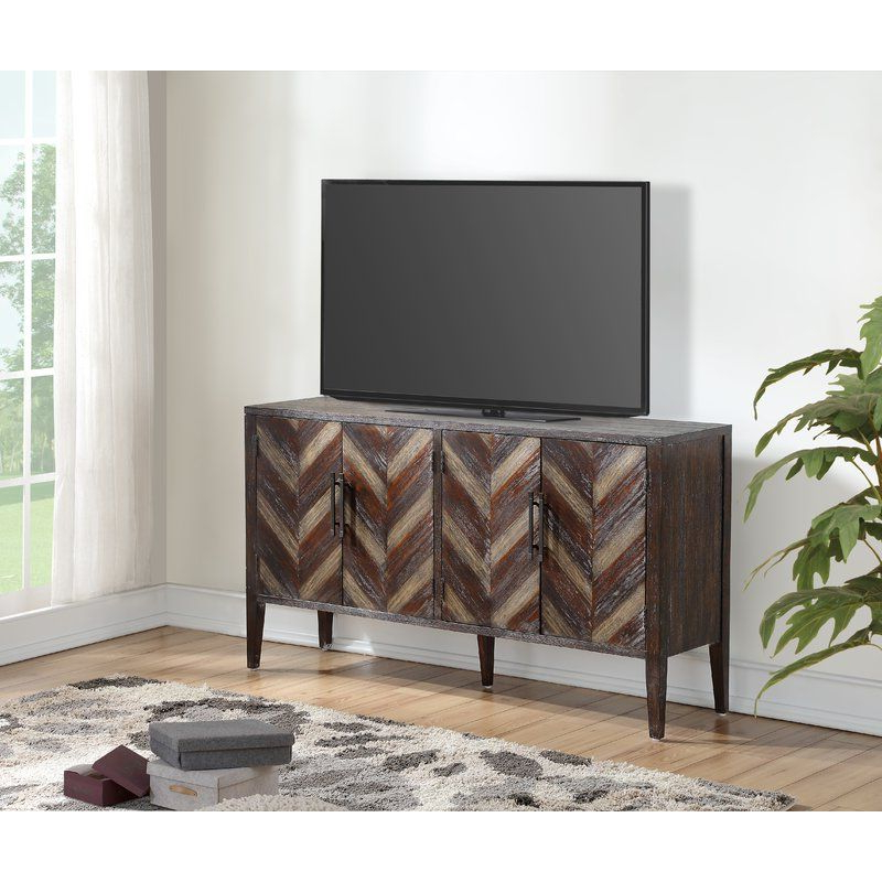 Solid In Most Popular Media Console Cabinet Tv Stands With Hidden Storage Herringbone Pattern Wood Metal (View 2 of 10)