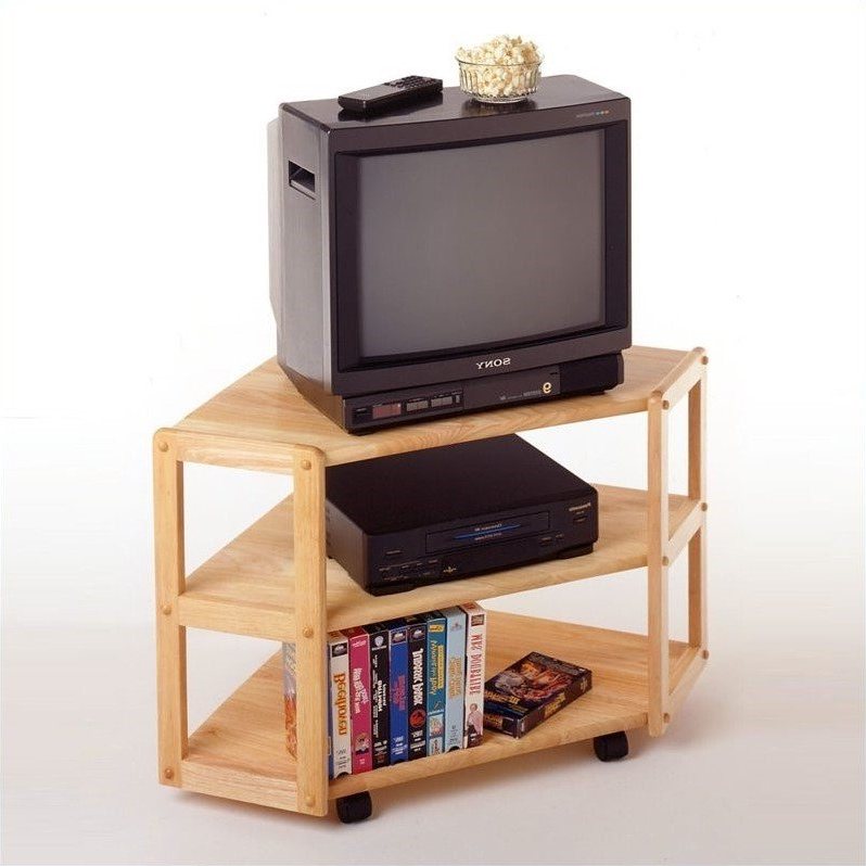 Solid Wood Corner Tv Stand In Beech – 83423 With Latest Hex Corner Tv Stands (View 13 of 25)