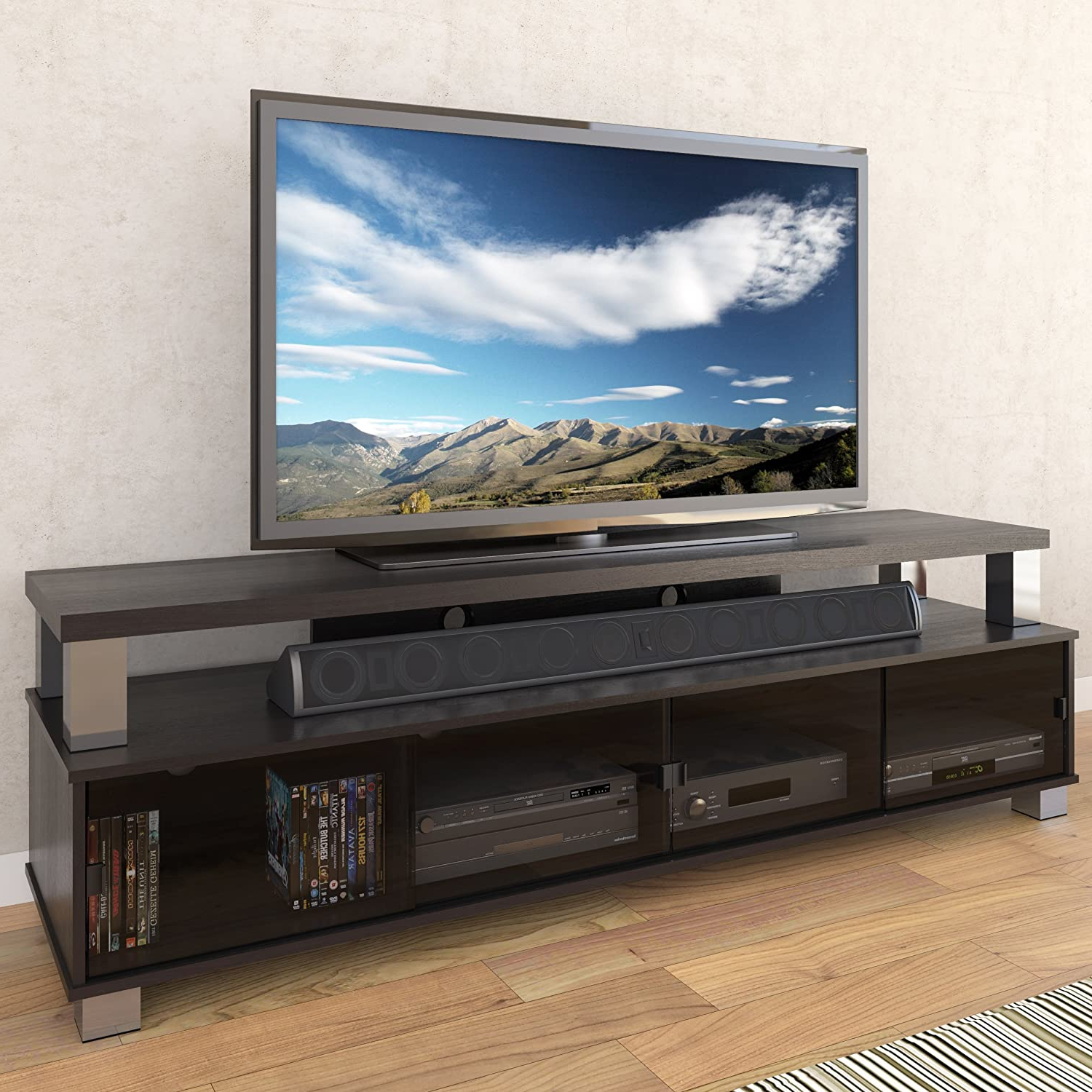 """Sonax Bromley 75 Inches 2 Tier Tv Bench In Ravenwood Black Within Fashionable Chrissy Tv Stands For Tvs Up To 75"""" (View 15 of 25)"""
