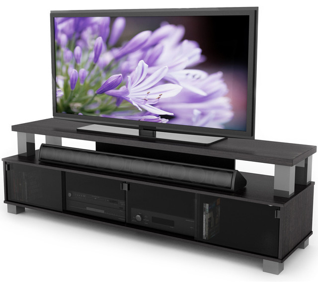 Sonax Bromley Ravenwood Black 75 Inch 2 Tier Tv Bench With Regard To Famous Bromley Black Wide Tv Stands (View 2 of 10)