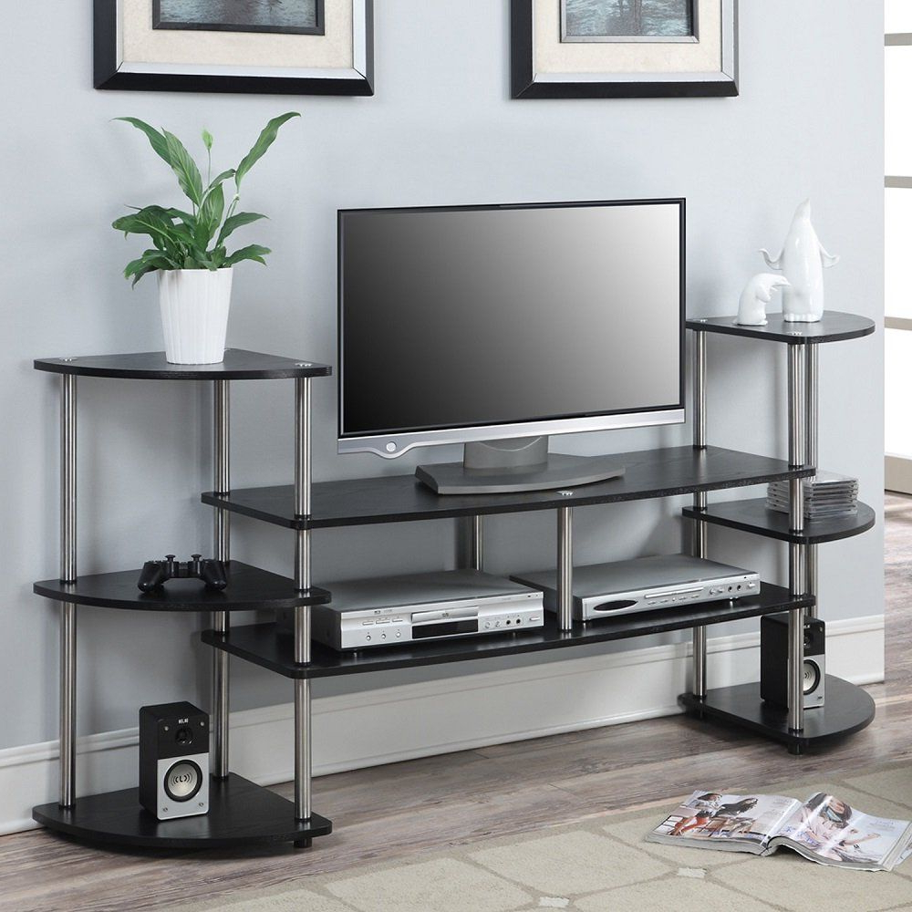 Space Saving Black Tall Tv Stands With Glass Base Intended For Most Popular Modern Design Black Multi Level Tv Stand For Tv's Up To  (View 8 of 10)