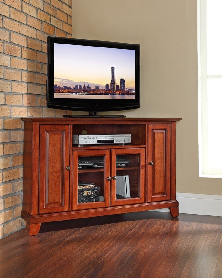 """Space Saving Black Tall Tv Stands With Glass Base Within Best And Newest Newport 48"""" Corner Tv Stand  Flat Screen Tv Wall Mounts (View 2 of 10)"""