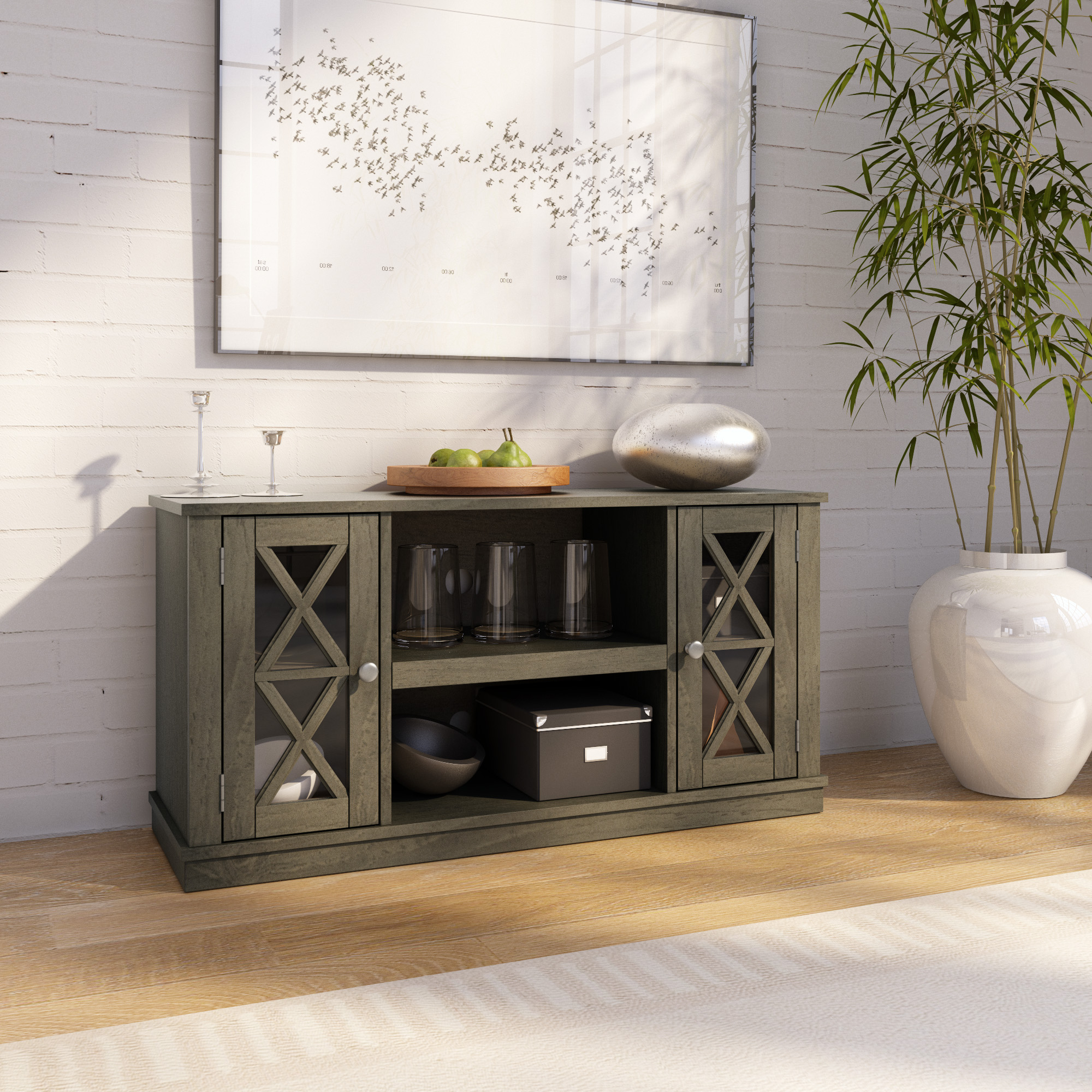 """Spellman Tv Stands For Tvs Up To 55"""" Within Popular Twin Star Home Stanton Ridge Spanish Gray Tv Stand For Tvs (View 7 of 25)"""