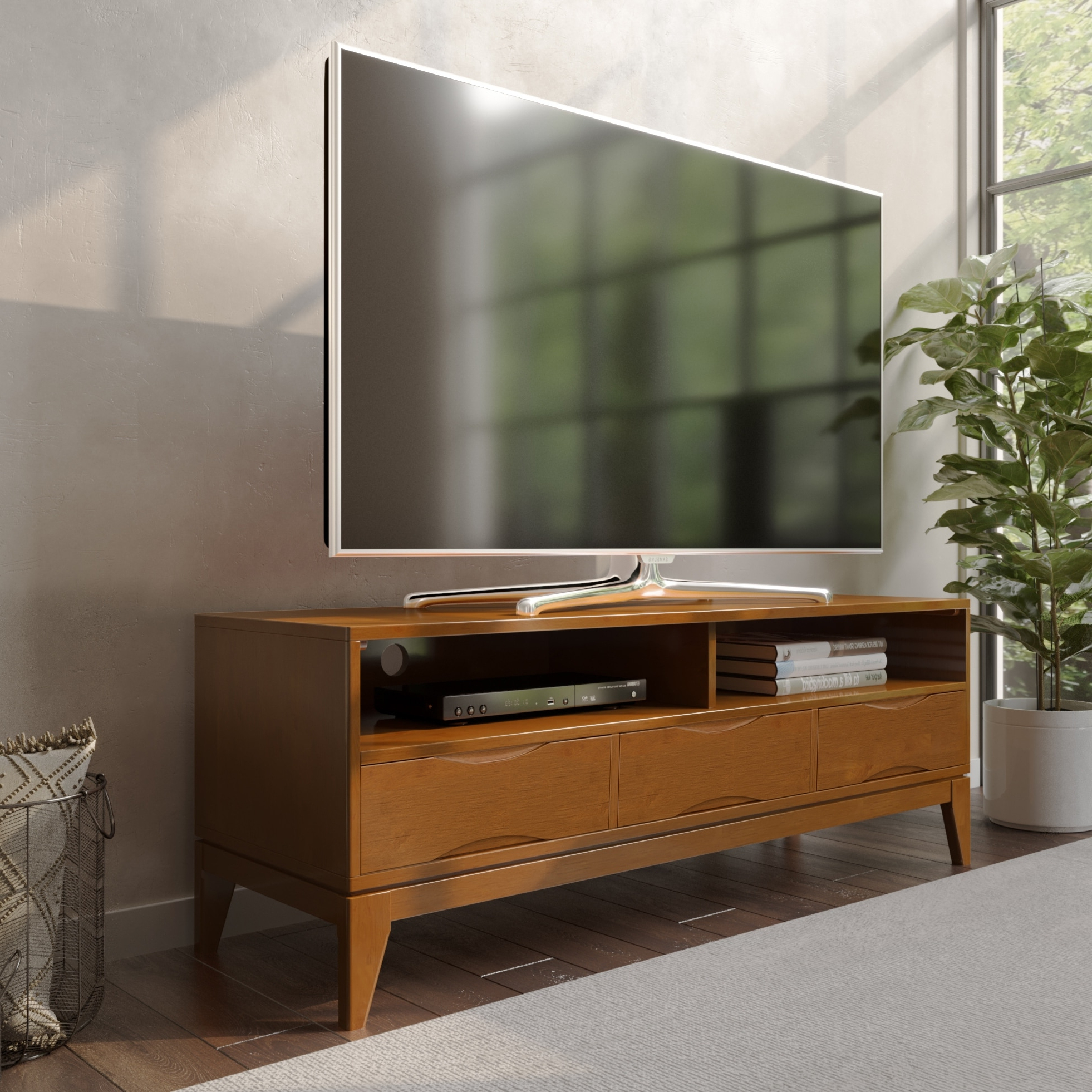 """Stamford Tv Stands For Tvs Up To 65"""" With Famous Wyndenhall Pearson Solid Hardwood 60 Inch Wide Mid Century (View 14 of 25)"""