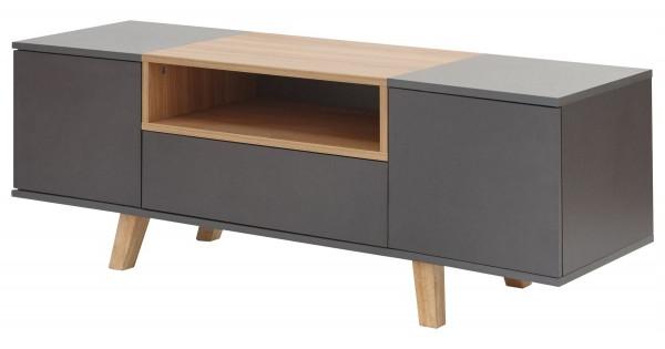 Stylish Compact Scandi Oak Modena Tv Unit Grey Inside Current Scandi 2 Drawer Grey Tv Media Unit Stands (View 9 of 10)