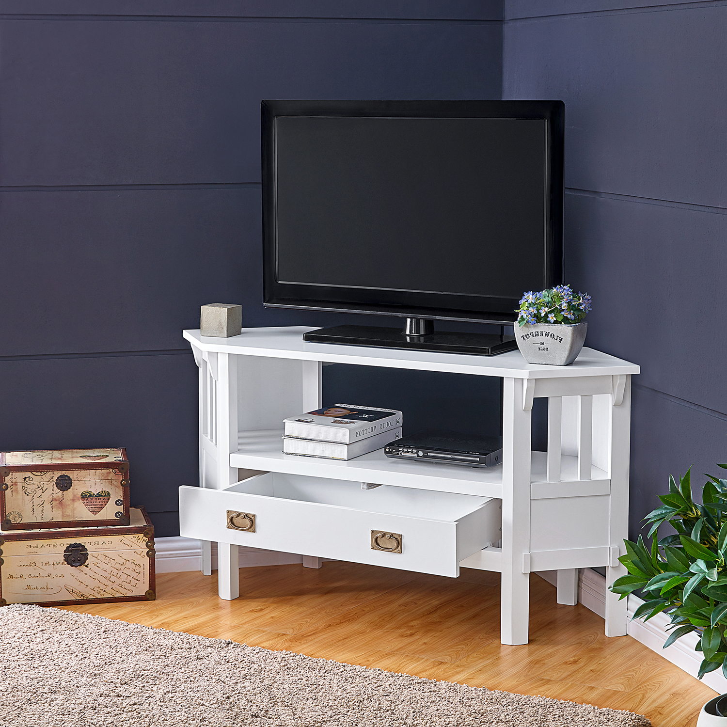Sullivan White Corner Tv Stand – Pier1 With Well Known Hex Corner Tv Stands (View 4 of 25)