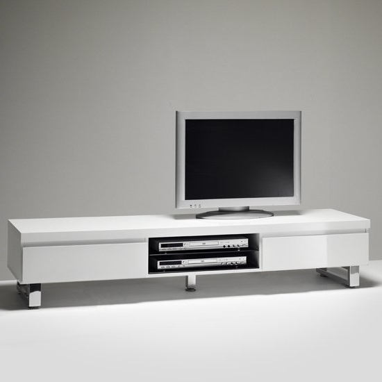 Sydney Lowboard Tv Stand In High Gloss White With 2 With Regard To 2017 Tv Stands With 2 Open Shelves 2 Drawers High Gloss Tv Unis (View 6 of 10)