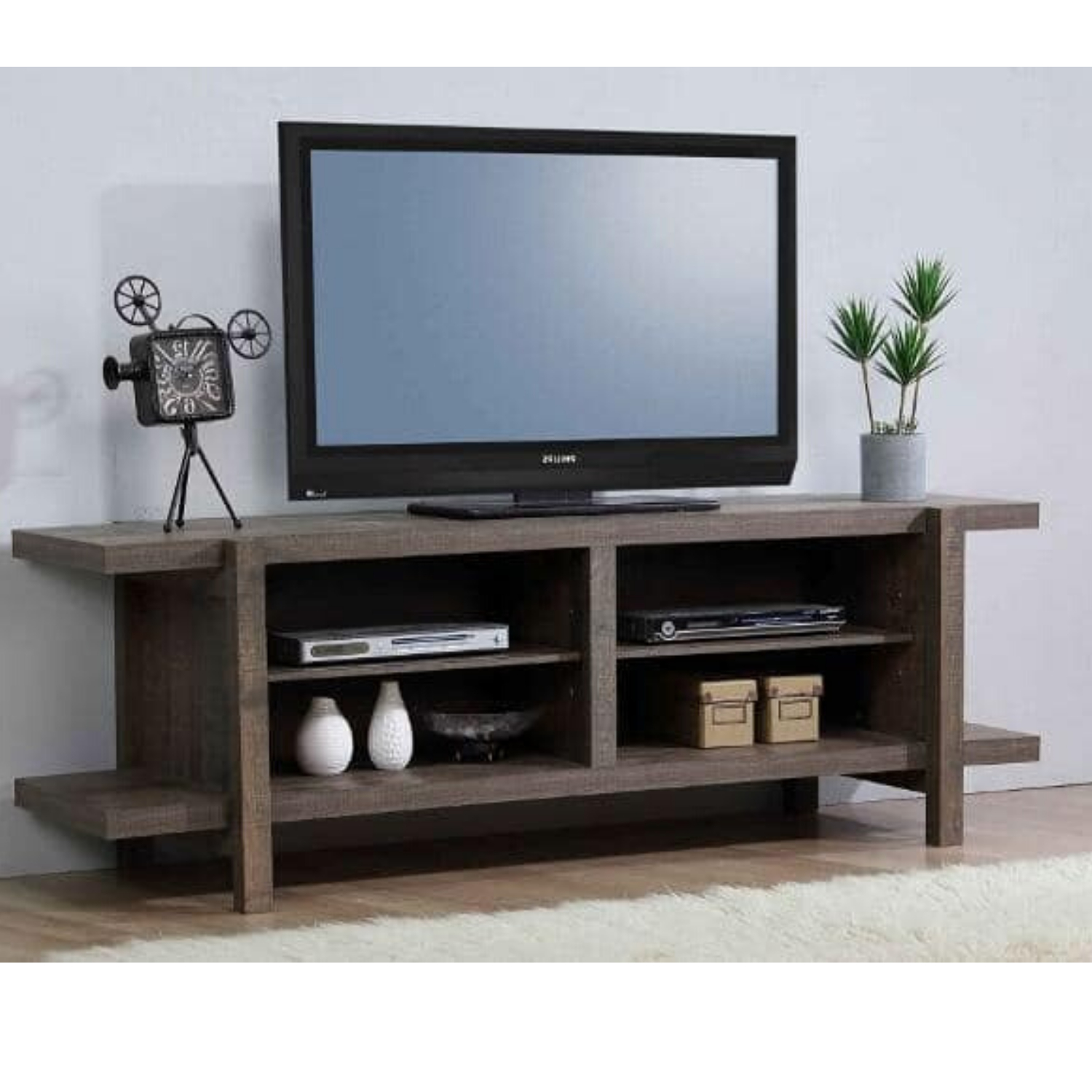 """Tammy 65'' Tv Stand For Tvs Up To 70'', Rustic Mdf Wood Tv Throughout Most Up To Date Tv Stands For Tvs Up To 65"""" (View 3 of 22)"""