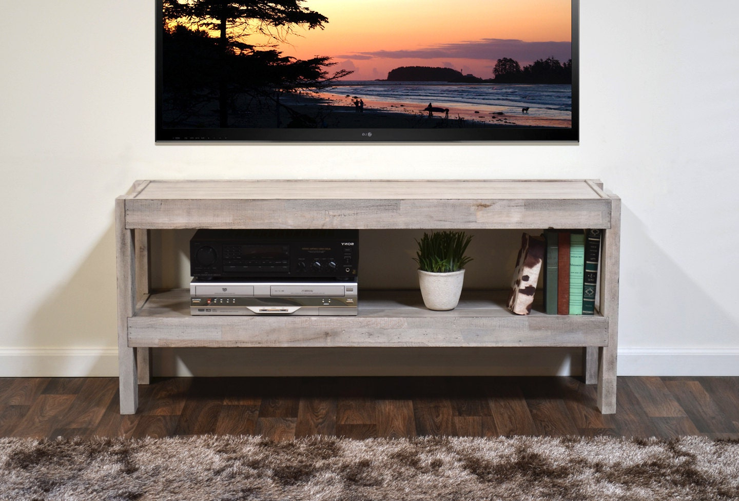 """Techni Mobili 53"""" Driftwood Tv Stands In Grey Intended For Famous Rustic Gray Reclaimed Wood Tv Stand Beach House (View 8 of 10)"""