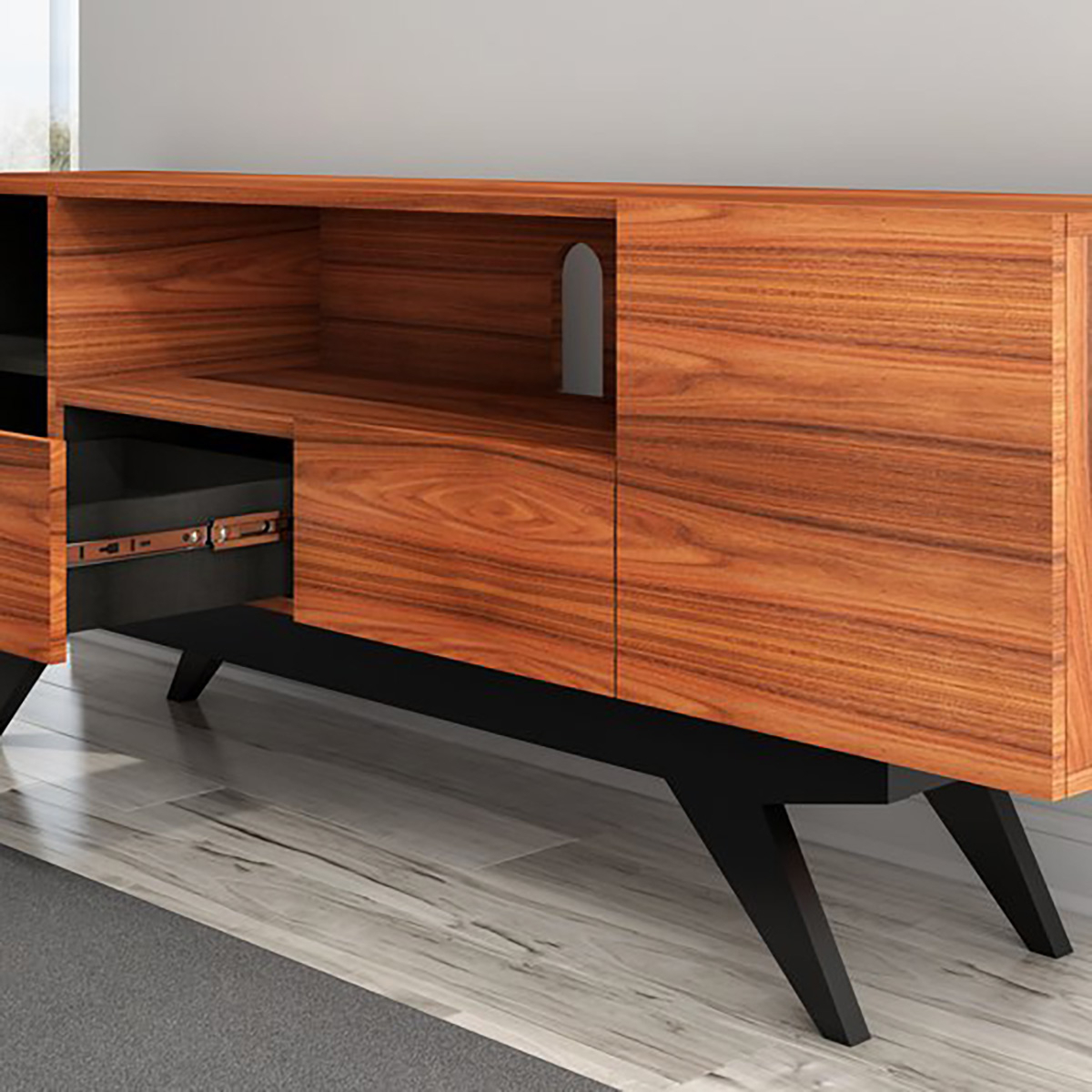 """Tenley Tv Stands For Tvs Up To 78"""" For Well Known Furnitech 78"""" Ft78pf Stunning Mid Century Tv Stand Media (View 25 of 25)"""