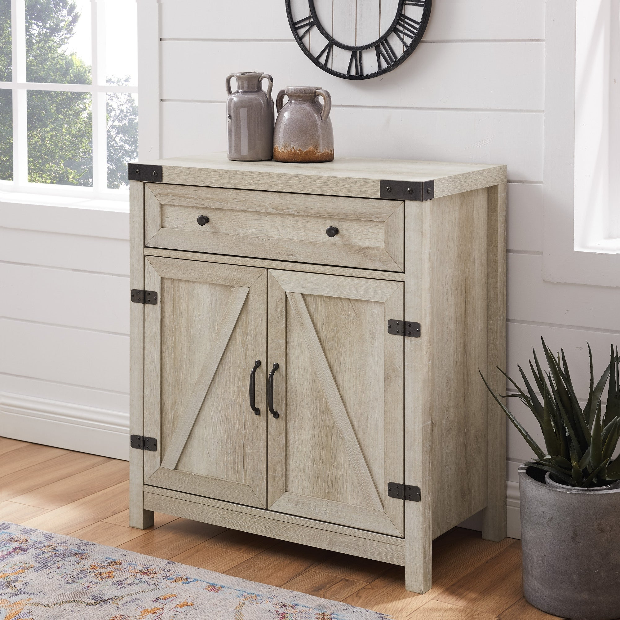 The Gray Barn 30 Inch Rustic Barn Door Accent Cabinet Inside Famous Tv Stands With Table Storage Cabinet In Rustic Gray Wash (View 9 of 10)